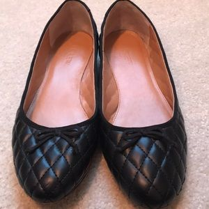 JCrew Quilted Black Flats bow accent 8.5M